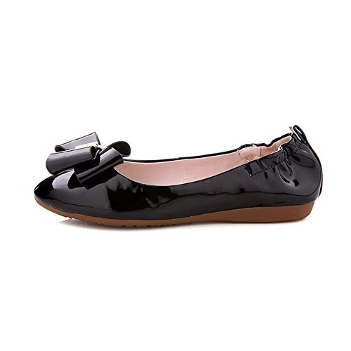 VogueZone009 Femme Verni Tire Fermeture D'Orteil Rond à Talon Bas Couleur Unie Chaussures Légeres Noir