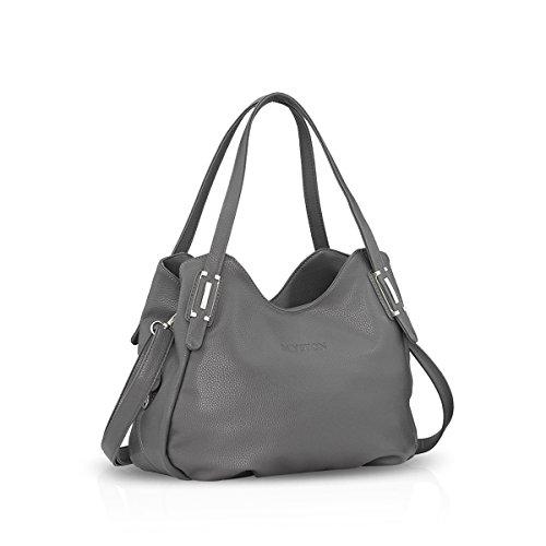 NICOLE&DORIS Dame Handtaschen Umhängetasche Schultertasche Messenger Bag PU Grau