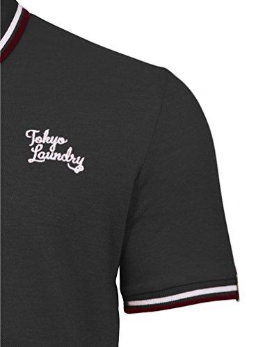 Tokyo Laundry Herren Goodwin Point Streifen Kragen Kurzarm Klassisch Basic Poloshirt Größe S- XXL Holzkohle Grau