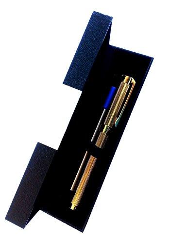 Penna lusso di qualità colore oro lucido a rilievo - finitura classe e design - punta Rollerball 0.5 mm colore inchiostro nero + Ricarica Blu - Cofanetto Regalo di protezione inclu