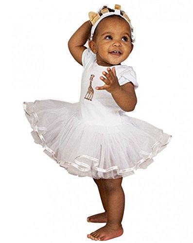 (shoperama Sophie La Girafe Body mit Tüll-Tutu Kleid Baby Kleinkind Giraffe Weiß Kinder-Kostüm Karneval Verkleidung festlich süß, Größe:6 bis 12 Monate)