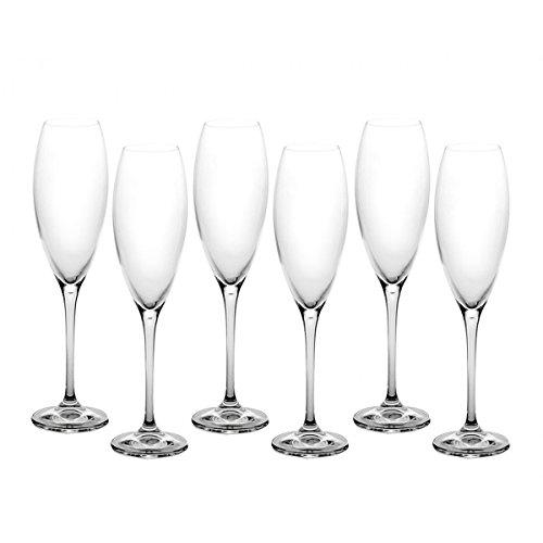 Lot de 6 flûtes à champagne Cecilia en cristal de Bohême - Capacité : 290 ml - Couleur : transparent - Un cadeau idéal pour une fête