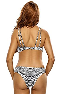 Kaamastra Womens' Double Straps 2pcs Printed High Neck Swimsuit(CV_LC410081,Multi-Coloured,Freesize)