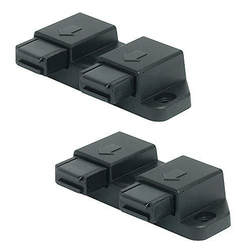 Gedotec Magnet-Druckverschluss für 2-flügelige Glastüren & Möbel | Doppel-Schnäpper Haftkraft 2,5 kg | Magnet-Schnäpper schwarz zum Schrauben | 2 Stück