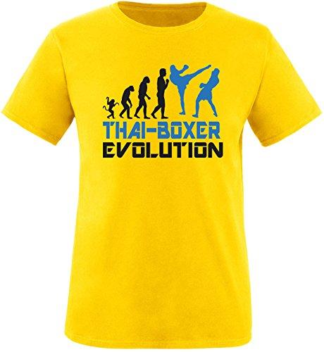 EZYshirt® Thai Boxing Evolution Herren Rundhals T-Shirt Gelb/Schwarz/Blau