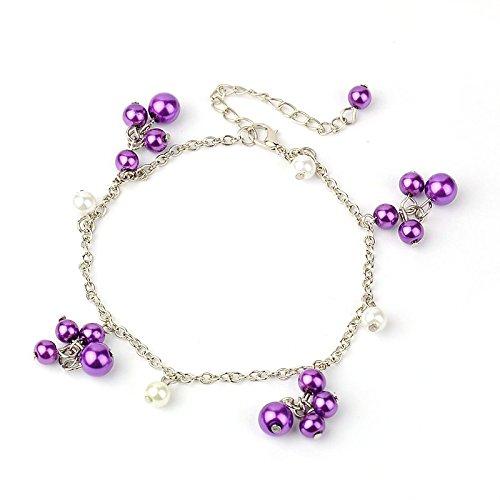Idin Jewellery Cavigliera regolabile vetro viola perla