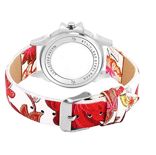 PZOZ Analogue White Dial Red Butterfly Girl's Watch