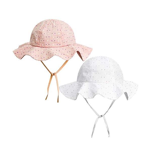FANTESI de 2 Piezas Sombrero de Protección Solar para Bebé, UPF 50+ UV Ray Baby Summer Hat Sombrero de Protección Solar… 1