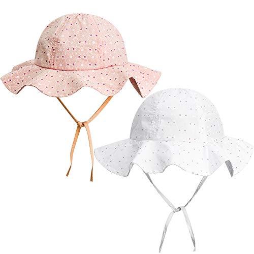 FANTESI Baby Sonnenhut, LSF 50+, UV-Strahlen, Sommerhut, Sonnenschutz, mit breiter Krempe, 2 Stück