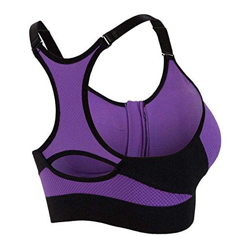 Etopfashion reggiseno di sport di yoga del reggiseno forte presa con seduta imbottita senza Buegel Purple