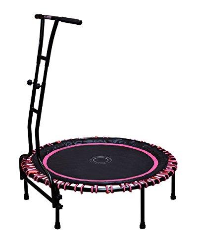 Indoor Outdoor Fitness Mini Trampolin 110 cm Ø mit 6 Standbeinen und Haltestange höhenverstellbar stabile Ausführung bis 120 kg belastbar pink