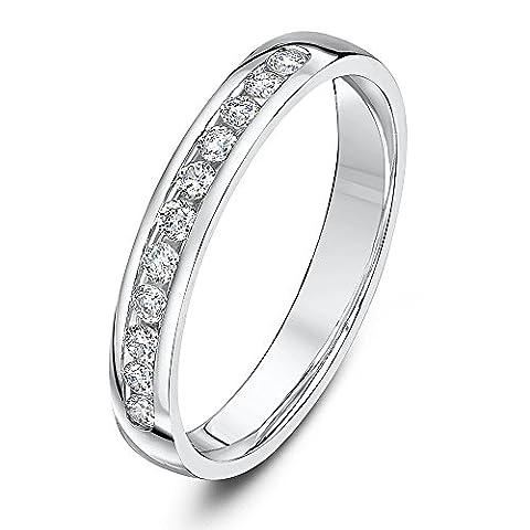 Theia 9ct White Gold 0.25ct Diamond Set 3mm Eternity Ring - Size I