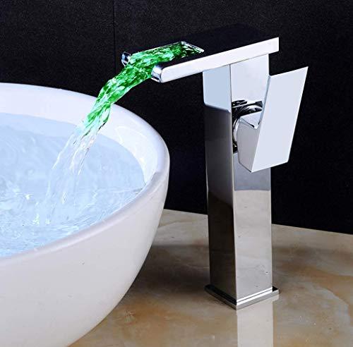GROHES Led Wasserhahn Belüfter Licht Badezimmer Wasserhähne Waschbecken Wasserhahn RGB Licht Wasserfall Einzigen Handgriff Glas Waschraum Becken Mischbatterien,High