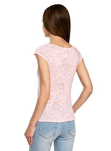 oodji Collection Damen T-Shirt Aus Texturiertem Stoff mit Raglan-Ärmeln Rosa (4000F)