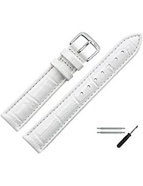 Uhrenarmband 16mm Leder weiss Prägung, Kroko, Bombage - Ersatzarmband inkl. Federstege & Werkzeug - Lederband...