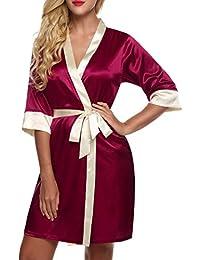 Ekouaer Women Stain Kimono Robe Short Pure Color Bridal Nightdress Dressing  Gown 731a32bd8