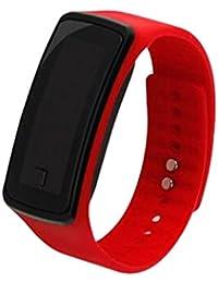 joyliveCY-Moda deportes reloj de pulsera electr¨®nica LED reloj de pulsera unisex rojo de los amantes