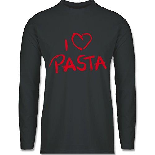 Shirtracer Küche - I Love Pasta - Herren Langarmshirt Dunkelgrau