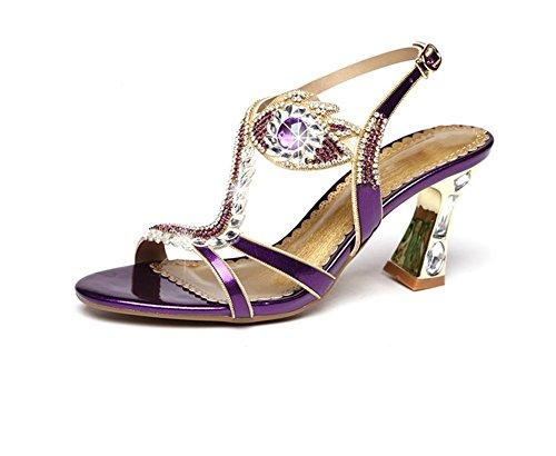pengweiSignore e sandali in estate i tacchi di rugiada a punta di spessore e alla moda Purple