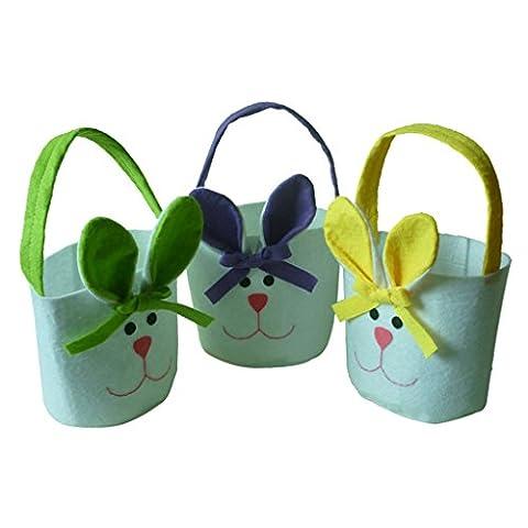 Gazechimp Ensemble 3pcs Enfant Sac Cadeaux Bonbons de Motif Lapin avec Oreilles Longues pour Fête de Pâques