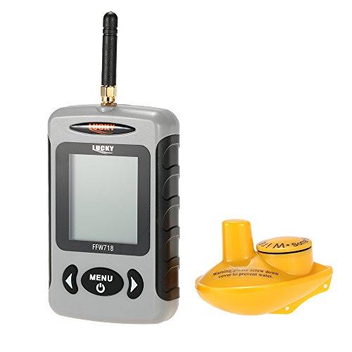 Docooler Fishfinder con Matrice di Punti Sonar Pesce Fishfinder Wireless Finder FFW718