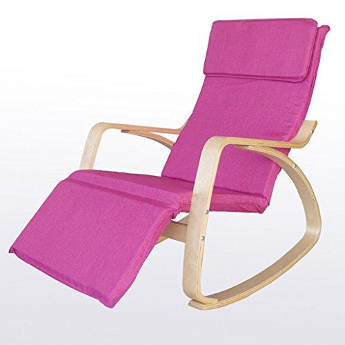 Lounge Chairs, Freizeit Sessel, Nickerchen Stühle, Nordic Massivholz Lounger Schaukelstühle (Farbe : Pink)