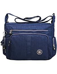 2de961a2e462 Bagtopia Large Capacity Women s Casual Shoulder Bags Waterproof Multi  Pockets Nylon Cross Body Handbags Blue