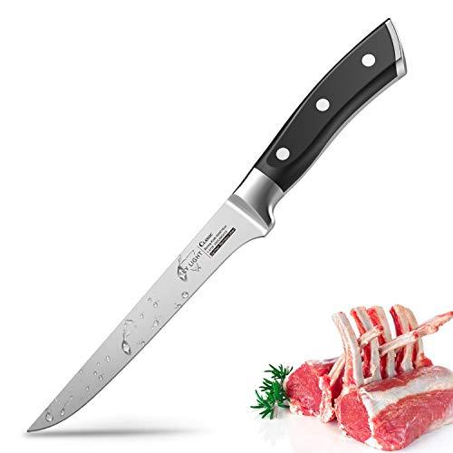 Ausbeinmesser Profi 14cm Filetiermesser Fleischmesser Edelstahl mit Flexibler Mmesserscharfer Klinge und Rutschfester Griff mit Ergonomischem Küchenmesser