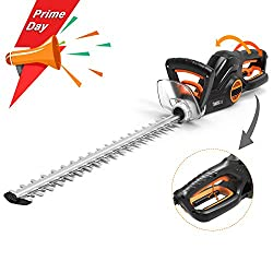 TACKLIFE Hedge Trimmer, 600W Electric Hedge Cutter, Diamond Grinding Blade: 550mm Length, 20mm Cutting Width, 3 Cutting Angle, 180°Adjustable Rotary Handle, 3 Switches Anti-Collision - GHT1A