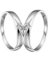 I Jewels Valentine's Special Silver Plated 2 Pcs His and Her Heart Shape Matching Adjustable Promise Ring Set Anniversary Engagement Couple Rings for Lovers (FL60CO)
