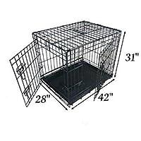 Ellie-Bo Jaula para perritos, jaula para perros con 2 puertas plegables, bandeja extra grande hecha de metal resistente a mordeduras de 106,68 cm