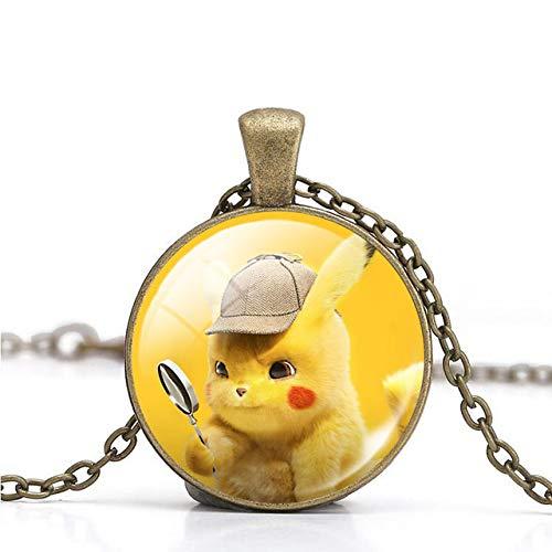 DADATU Halsketten für Herren Halskette Pokemon Detektiv Pikachu Bild Schmuck Legierung Cabochon Glas Anhänger Für Frauen Männer Beste - Detektiv Kostüm Bilder
