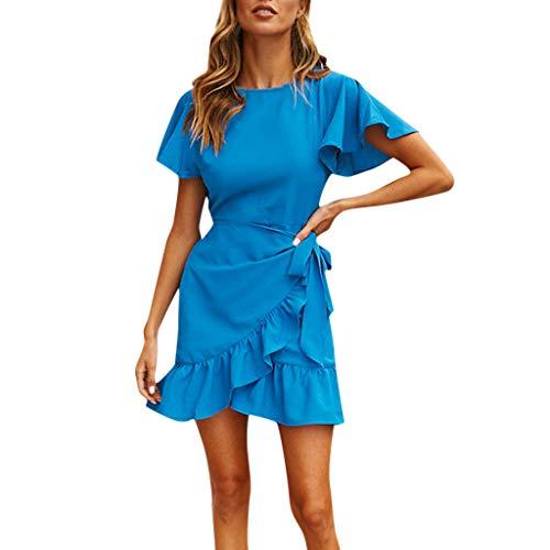 Streetwear Kleid VENMO Damen Festliche elegant Kleid Plus Size Damen Knielang Retro V-Ausschnitt Höhe Taille