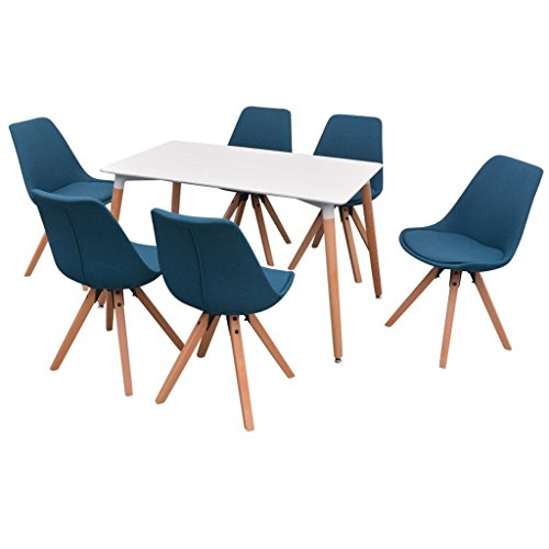 Festnight- 7-teilige Essgruppe Tisch Stühle | Esstisch + Stuhlset | 1 Tisch & 6 Esszimmerstühle | Tischgruppe 6 Personen Esszimmer Esstisch Küche Sitzgruppe | Weiß und Blau
