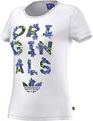 adidas Trefoil Tee - Camiseta para mujer, color blanco, talla 32