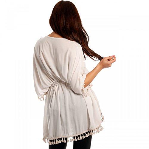 Damen Tunika Longbluse Oversized mit V-Ausschnitt und Spitzeneinsatz Beige