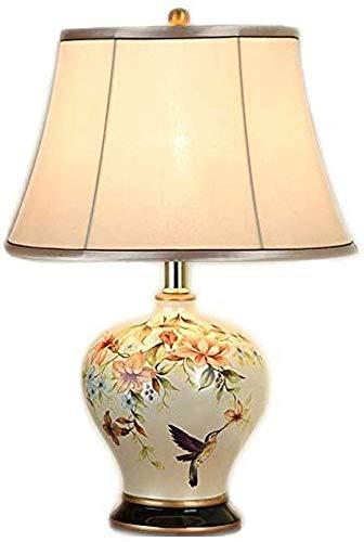 Zenghh Klassische Vintage Art Keramik Tischlampe, Oriental Vase-Like-Tuch Lampshade Buch-Licht-Button Switch Schreibtischlampe Schlafzimmer Porzellan-Antike Blumen verzierte Nachttischlampe Glühlampe