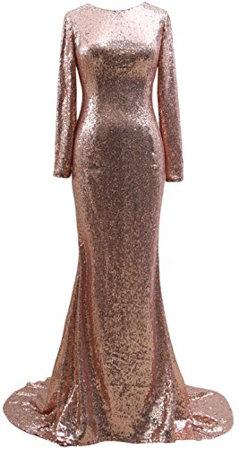MACloth Mermaid Long Sleeves Sequin Prom Dress Open Back Formal Evening Gown Rose Gold