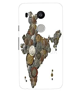 ColourCraft Indian Map made with Coins Design Back Case Cover for LG GOOGLE NEXUS 5X