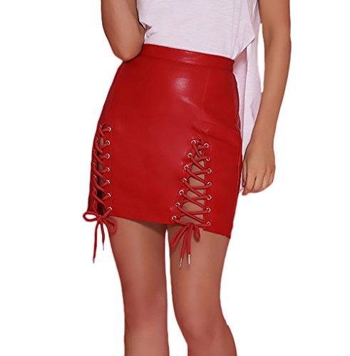 Faldas Mujer Moda Cruzadas Bandage Con Aberturas Apretados Falda Cuero  Elegantes Ropa Fiesta Modernas Color Sólido 3d7ce49ad369