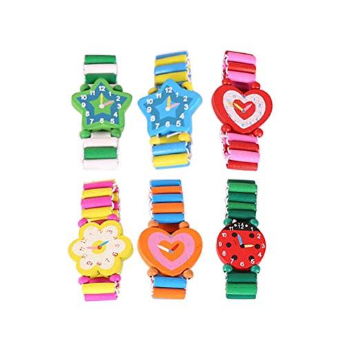 Toyvian Reloj de simulación de Reloj de Pulsera de Madera para niños 6pcs Color Aleatorio