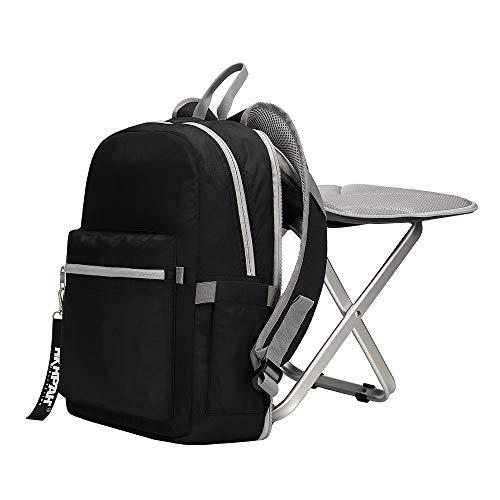 BigTron Rucksack Stuhl, Ultraleicht Angelrucksack mit Stuhl/Klappstuhl mit Rucksack für Camping, Wandern (Schwarz)