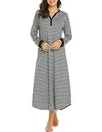 0902df46c4d61f Skione Nachthemd Damen Lang Baumwolle Streifen Knopfleiste V-Ausschnitt  Nachtwäsche Bodenlang…