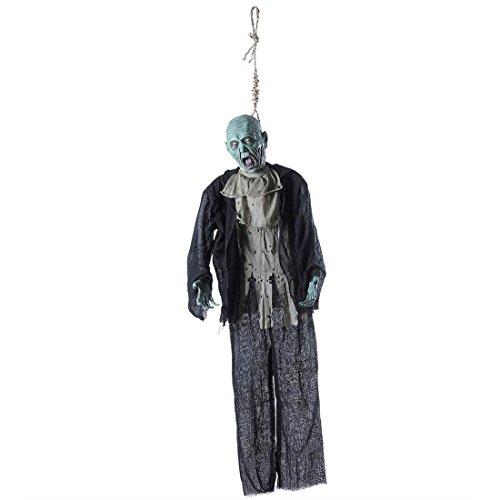 NET TOYS Toter Mann Deko Halloween Leiche 153 cm Hängende Horror Figur Erhangener Zombie Schocker Deko Horror Dekoration