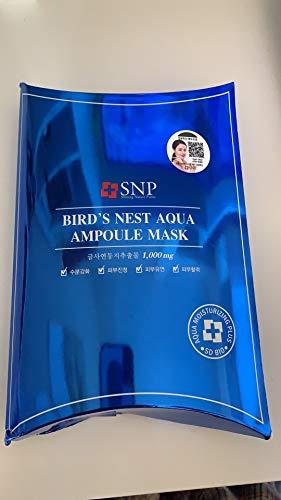 SNP - Bird´s Nest Aqua Ampoule Mask - 10 x Feuchtigkeitsmasken mit Korallenmoos und Hamamelis für Männer und Frauen - Gesichtsmasken gegen trockene Haut - Masken fürs Gesicht für die tägliche Hautpflege - Gesichtsmasken & Gesichtskuren - Gesichtspflege für trockene, fettige, normale Haut / Mischhaut