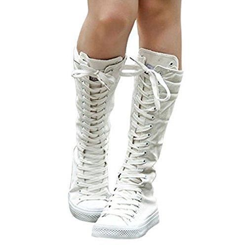 Padgene Baskets Mode Montantes Au Genou Botte Lacet colorés En Toile Plate Sneakers Tennis Chaussures Casuel Femme Blanc