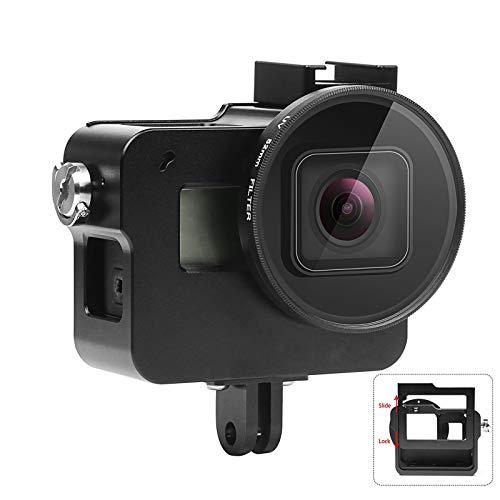 SHOOT Aluminium Legierung Skelett schützende Gehäuse Case mit 52mm UV Filter für GoPro Hero 6 Action Kamera mit Hintere Abdeckung(Schwarz)
