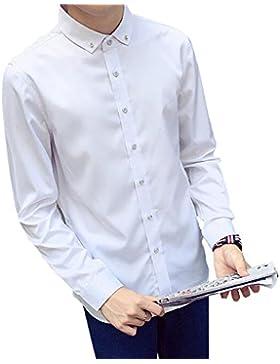 BOZEVON Men's Slim Fit Poliéster Casual Botón de manga larga camisa de 2 botones (blanco, negro, azul marino,...