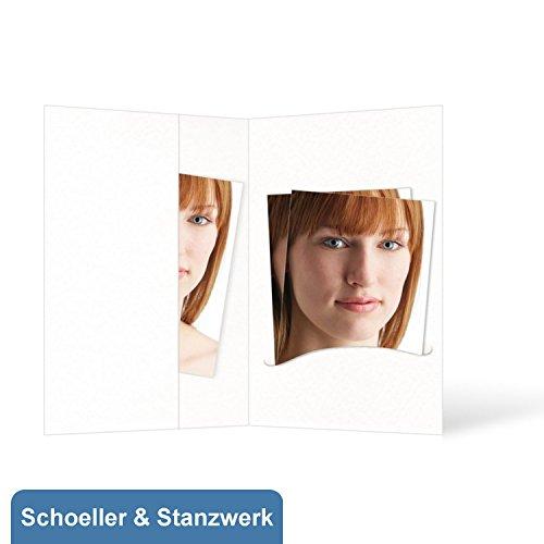 100 Stück Passbildmappen für Passfotos 4,5x6 cm mit Einsteckschlitz und Fototasche (ohne Passepartout) weiß - Schoeller & Stanzwerk