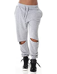 DSGuided Damen Jogginghose Baggy-Sweatpants Destroyed-Style Frayed Low Crotch Haremhose Aladinhose (36 - 44)